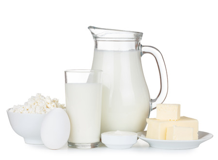 Photo for Organic dairy products isolated on white background - Royalty Free Image