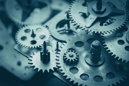 Photo for Gears and cogs macro, blue toned - Royalty Free Image