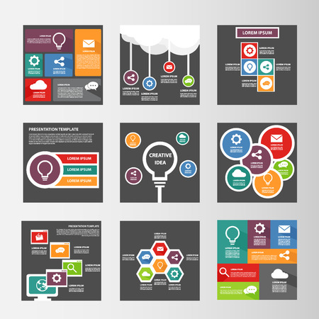 Ilustración de infographic multipurpose presentation template flat design element for brochure flyer - Imagen libre de derechos