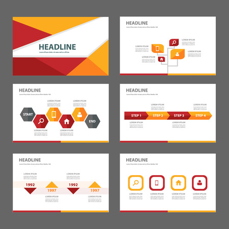 Ilustración de yellow orange red infographic element for presentation brochure flyer leaflet flat design - Imagen libre de derechos