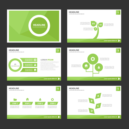 Ilustración de Leaf Green Multipurpose Infographic elements and icon presentation template flat design set for advertising marketing brochure flyer leaflet - Imagen libre de derechos