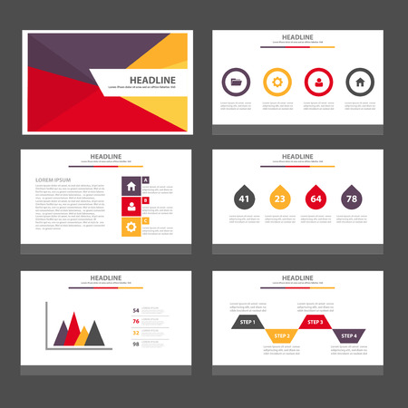 Ilustración de Red yellow purple Multipurpose Infographic elements and icon presentation template flat design set for advertising marketing brochure flyer leaflet - Imagen libre de derechos