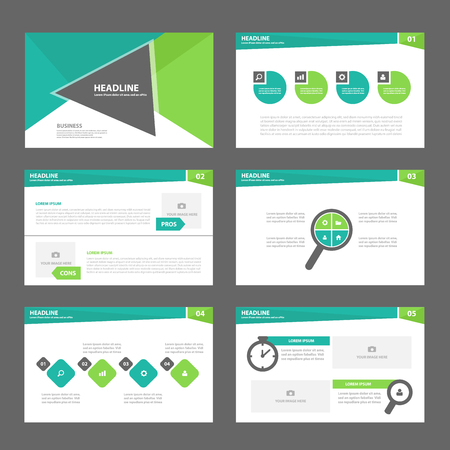 Ilustración de Triangle Green Multipurpose Infographic elements and icon presentation template flat design set for advertising marketing brochure flyer leaflet - Imagen libre de derechos
