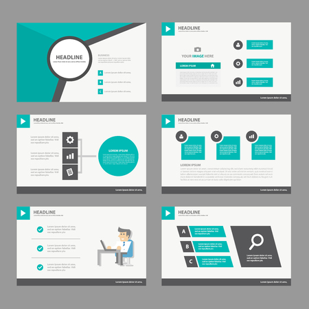 Ilustración de Black green Annual report Multipurpose Infographic elements and icon presentation template flat design set for advertising marketing brochure flyer leaflet - Imagen libre de derechos