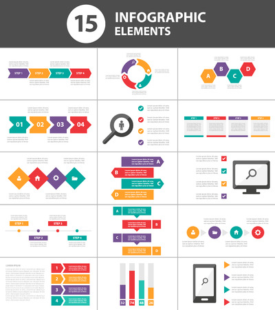 Ilustración de Multicolor Multipurpose Infographic elements and icon presentation template flat design set for advertising marketing brochure flyer leaflet - Imagen libre de derechos