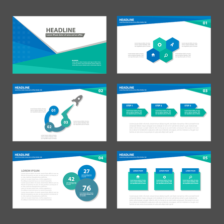 Ilustración de Blue green business Multipurpose Infographic elements and icon presentation template flat design set for advertising marketing brochure flyer leaflet - Imagen libre de derechos