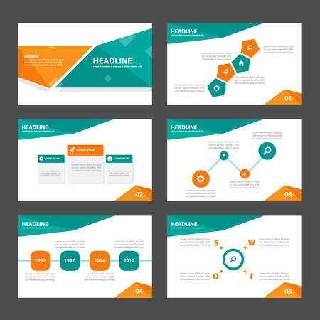 Ilustración de Green and orange business Multipurpose Infographic elements and icon presentation template flat design set for advertising marketing brochure flyer leaflet - Imagen libre de derechos
