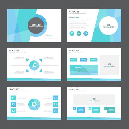 Ilustración de Blue green Abstract presentation template Infographic elements flat design set for brochure flyer leaflet marketing advertising - Imagen libre de derechos