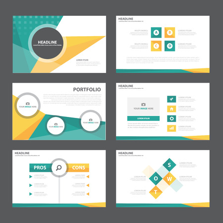 Ilustración de Green orange Abstract presentation template Infographic elements flat design set for brochure flyer leaflet marketing advertising - Imagen libre de derechos