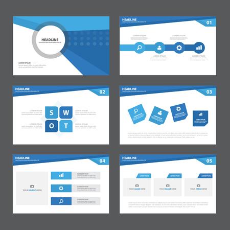 Illustration pour Blue Abstract presentation template Infographic elements flat design set for brochure leaflet marketing advertising - image libre de droit