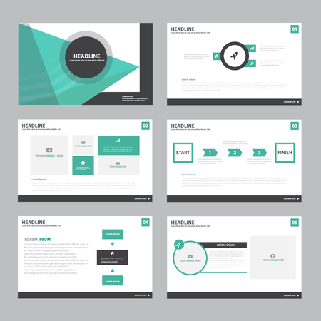 Ilustración de Green Abstract presentation template Infographic elements flat design set for brochure flyer leaflet marketing advertising - Imagen libre de derechos