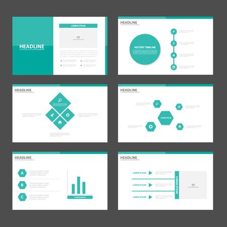 Illustration pour Green presentation templates Infographic elements flat design set for brochure flyer leaflet marketing advertising - image libre de droit