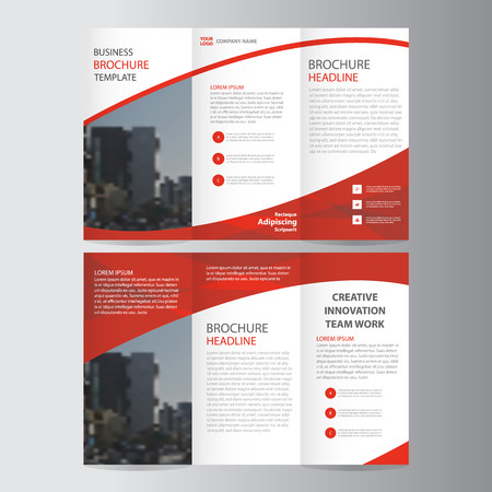 Ilustración de Red elegance business trifold business Leaflet Brochure Flyer template vector minimal flat design set - Imagen libre de derechos