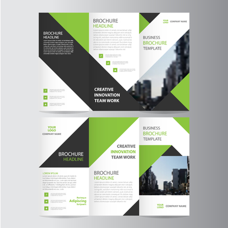 Ilustración de Green black elegance business trifold business Leaflet Brochure template minimal flat design - Imagen libre de derechos