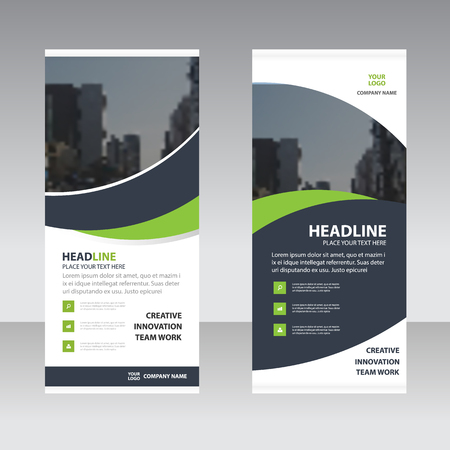 Illustration for Green black curve astract triangle Business Roll Up Banner flat design template ,Abstract Geometric banner template Vector illustration set, abstract presentation template - Royalty Free Image