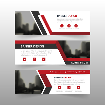 Illustration pour Red black triangle corporate business banner template, horizontal advertising business banner layout template flat design set , clean abstract cover header background for website design - image libre de droit
