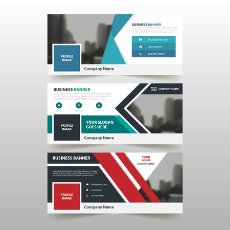 Illustration pour Blue Green red corporate business banner template, horizontal advertising business banner layout template flat design set , clean abstract cover header background for website design - image libre de droit