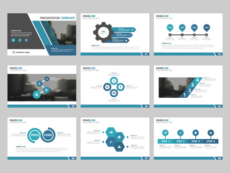 Illustration pour Blue Abstract presentation templates, Infographic elements template flat design set for annual report brochure flyer leaflet marketing advertising banner template - image libre de droit