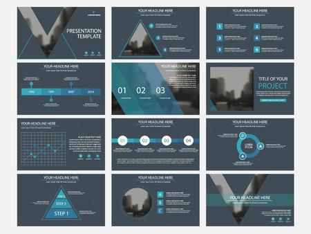 Illustration pour Business presentation infographic elements template set, annual report corporate horizontal brochure design template. - image libre de droit