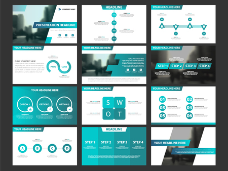 Ilustración de Business presentation infographic elements template set, annual report corporate horizontal brochure design template - Imagen libre de derechos