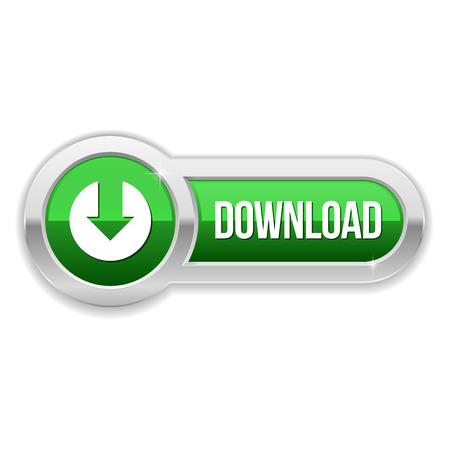 Illustration pour Long green download button with metallic border - image libre de droit