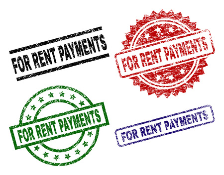 Illustration pour FOR RENT PAYMENTS seal prints with damaged style. Black, green,red,blue vector rubber prints of FOR RENT PAYMENTS caption with dust style. Rubber seals with round, rectangle, medal shapes. - image libre de droit