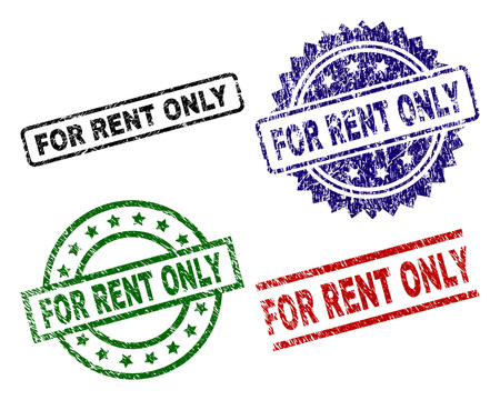 Illustration pour FOR RENT ONLY seal prints with distress surface. Black, green,red,blue vector rubber prints of FOR RENT ONLY caption with dust surface. Rubber seals with round, rectangle, medal shapes. - image libre de droit