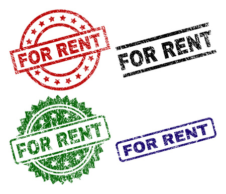 Illustration pour FOR RENT seal prints with damaged style. Black, green,red,blue vector rubber prints of FOR RENT text with unclean style. Rubber seals with circle, rectangle, medal shapes. - image libre de droit