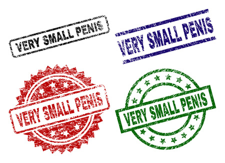 Illustrazione per VERY SMALL PENIS seal prints with damaged style. Black, green,red,blue  rubber prints of VERY SMALL PENIS caption with unclean style. Rubber seals with round, rectangle, medal shapes. - Immagini Royalty Free