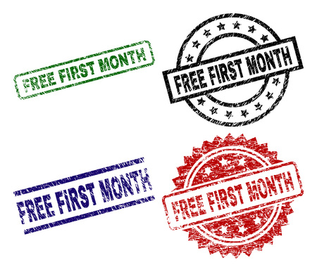 Illustrazione per FREE FIRST MONTH seal prints with damaged surface. Black, green,red,blue vector rubber prints of FREE FIRST MONTH caption with grunge surface. Rubber seals with circle, rectangle, medallion shapes. - Immagini Royalty Free