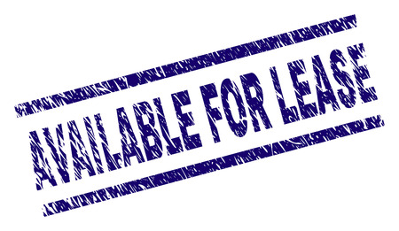 Illustration pour AVAILABLE FOR LEASE seal print with scratced style. Blue vector rubber print of AVAILABLE FOR LEASE text with dust texture. Text caption is placed between parallel lines. - image libre de droit