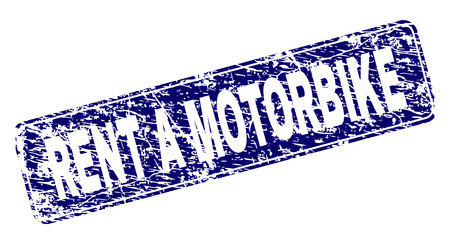 Illustration pour RENT A MOTORBIKE stamp seal print with distress texture. Seal shape is a rounded rectangle with frame. Blue vector rubber print of RENT A MOTORBIKE title with dust texture. - image libre de droit