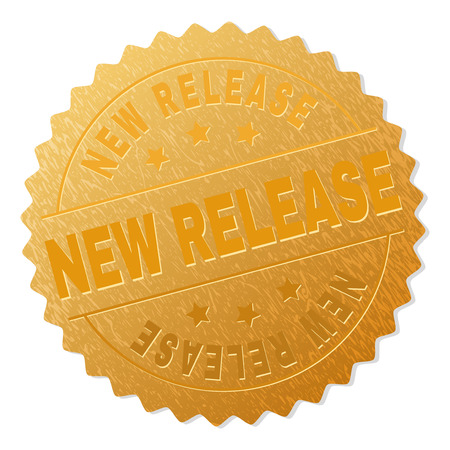 Illustration pour NEW RELEASE gold stamp badge. Vector gold award with NEW RELEASE text. Text labels are placed between parallel lines and on circle. Golden area has metallic structure. - image libre de droit