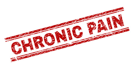 Illustration pour CHRONIC PAIN seal print with grunge texture. Red vector rubber print of CHRONIC PAIN text with grunge texture. Text label is placed between double parallel lines. - image libre de droit