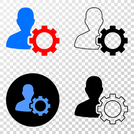 Ilustración de User options gear vector icon with contour, black and colored versions. Illustration style is flat iconic symbol on chess transparent background. - Imagen libre de derechos