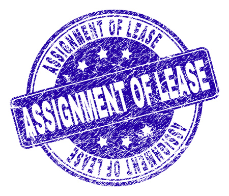 Illustration pour ASSIGNMENT OF LEASE stamp seal watermark with distress style. Designed with rounded rectangle and circles. Blue vector rubber print of ASSIGNMENT OF LEASE label with grunge style. - image libre de droit
