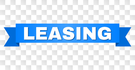 Illustration pour LEASING text on a ribbon. Designed with white caption and blue stripe. Vector banner with LEASING tag on a transparent background. - image libre de droit