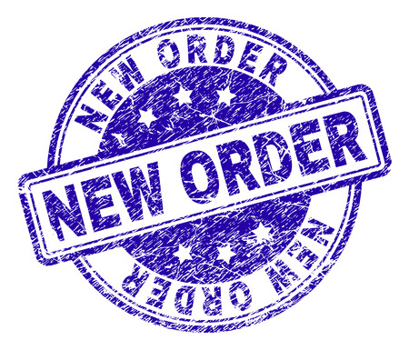 Ilustración de NEW ORDER stamp seal watermark with distress texture. Designed with rounded rectangles and circles. Blue vector rubber print of NEW ORDER tag with dirty texture. - Imagen libre de derechos
