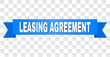 Illustration pour LEASING AGREEMENT text on a ribbon. Designed with white title and blue stripe. Vector banner with LEASING AGREEMENT tag on a transparent background. - image libre de droit