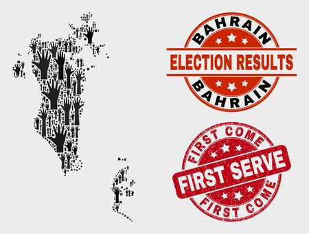 Illustration pour Ballot Bahrain map and seal stamps. Red rounded First Come First Serve scratched stamp. Black Bahrain map mosaic of upwards help hands. Vector collage for ballot results, - image libre de droit