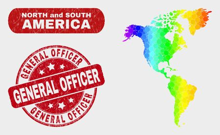 Illustration pour Spectrum dotted South and North America map and seal stamps. Red round General Officer textured seal stamp. Gradient spectrum South and North America map mosaic of random circle elements. - image libre de droit
