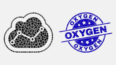 Ilustración de Dotted chart cloud mosaic pictogram and Oxygen seal stamp. Blue vector rounded distress seal with Oxygen phrase. Vector collage in flat style. Black isolated chart cloud mosaic of scattered circles, - Imagen libre de derechos