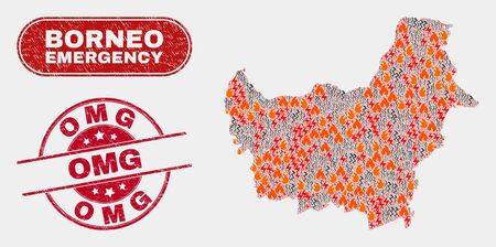 Ilustración de Vector collage of disaster Borneo map and red round textured Omg stamp. Emergency Borneo map mosaic of wildfire, energy hazard icons. Vector collage for emergency services, and Omg stamp. - Imagen libre de derechos
