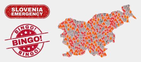 Ilustración de Vector composition of danger Slovenia map and red rounded scratched Bingo! seal. Emergency Slovenia map mosaic of flame, electric lightning icons. Vector composition for emergency services, - Imagen libre de derechos
