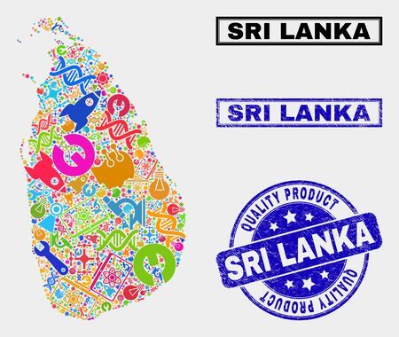 Ilustración de Vector collage of service Sri Lanka map and blue stamp for quality product. Sri Lanka map collage created with equipment, wrenches, science icons. - Imagen libre de derechos