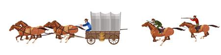 Illustration pour Armed riders chasing a stagecoach. Vector illustration - image libre de droit