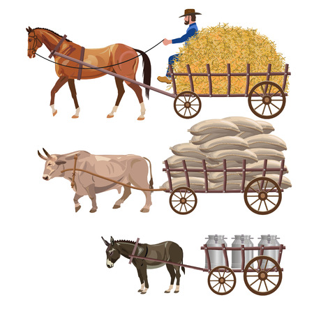 Ilustración de Set of vector vehicles with draft animals: horse, ox and donkey - Imagen libre de derechos