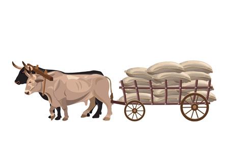 Illustration pour Pair of oxen pull a cart with sacks - image libre de droit