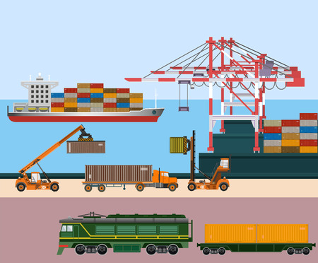 Ilustración de Container ship at freight port terminal. Equipment and transport. Vector illustration - Imagen libre de derechos