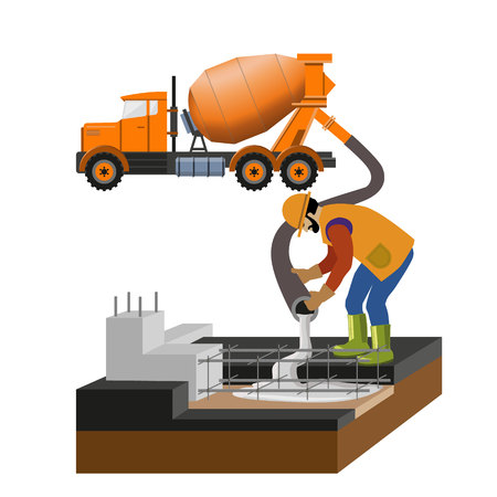 Illustration pour Worker at building site are pouring concrete in mold from mixer truck. Vector illustration, isolated on white background. - image libre de droit